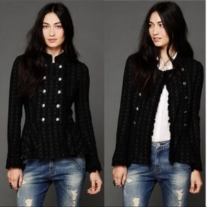 Free People Cable Knit Peplum Military Jacket